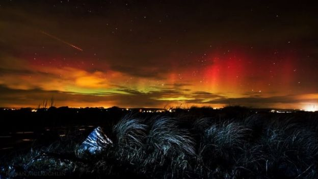 6th March 2016 aurora borealis Ballynamona Beach County Cork Eire by Ronan McLaughlin