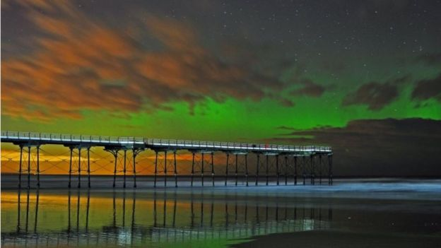 6th March 2016 aurora borealis Saltburn Pier North Yorkshire by Damian Money