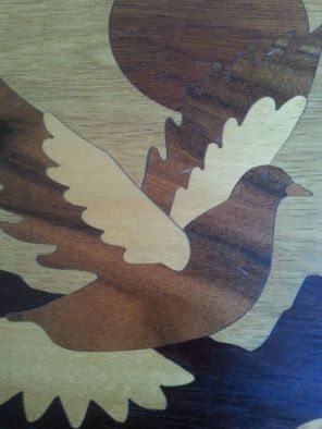 detail Dove various woods marquetry picture 2