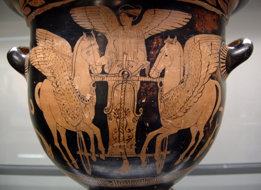 Eos in her chariot flying over the sea, red-figure krater from South Italy, 430–420 BC, Staatliche Antikensammlungen