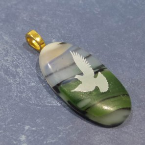 Fused Glass White Dove, blue, black, green background pic2