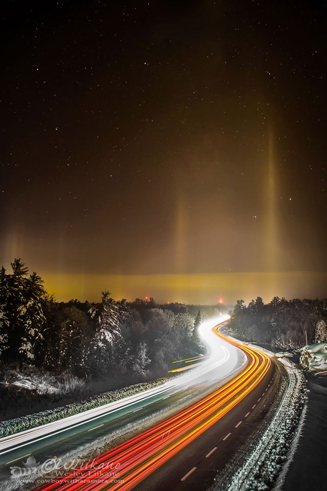 Wesley Liikane in Severn Bridge, Ontario captured these light pillars on December 23, 2013