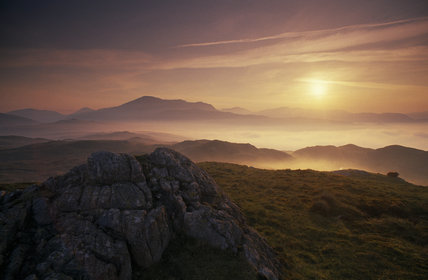 Eskdale  Scafell from Blea Tarn Hill near Boot at Dawn with rock in foreground