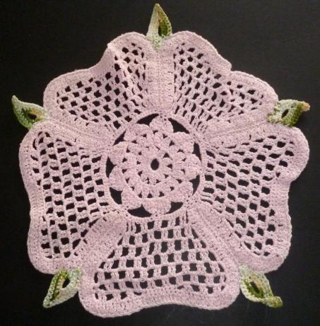 Vintage Pink Tudor Rose Crocheted Doily photo