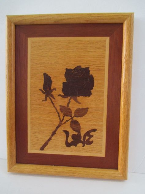 Vintage Signed Marquetry Wall Art Rose Love 1