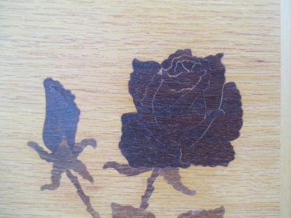Vintage Signed Marquetry Wall Art Rose Love rose close up 2