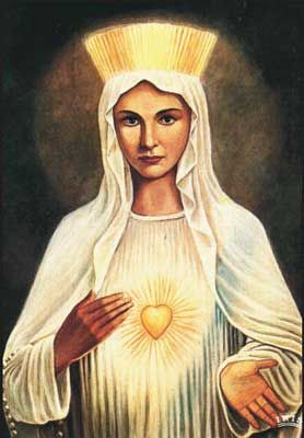 Madonna Beauraing , called Virgin heart of gold