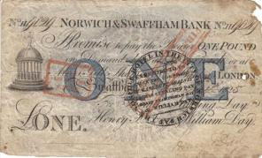 Norwich & Swaffham Bank One Pound 1825