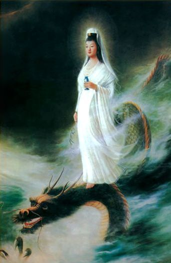 Quan Yin riding on a dragon