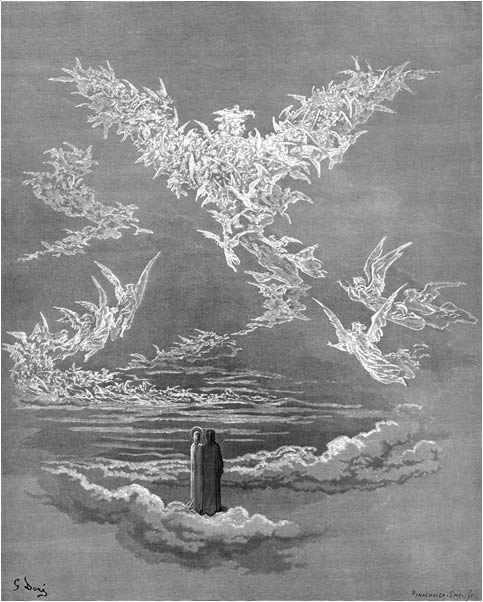 Paradiso, Canto 19: The blessed souls form a bird in the sky. The Divine Comedy: Illustrations by Gustave Doré
