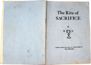 The Rite of Sacrifice Booklet, Front Cover, 1977. Chalice