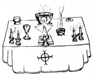 The Rite of Sacrifice Booklet, 1977, Madrian Altar Cloth with Cross of Resurrection.