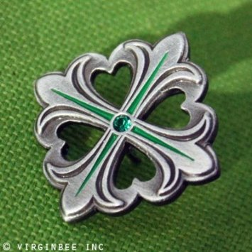 celtic cross fleur-de lis hearts lapel pin