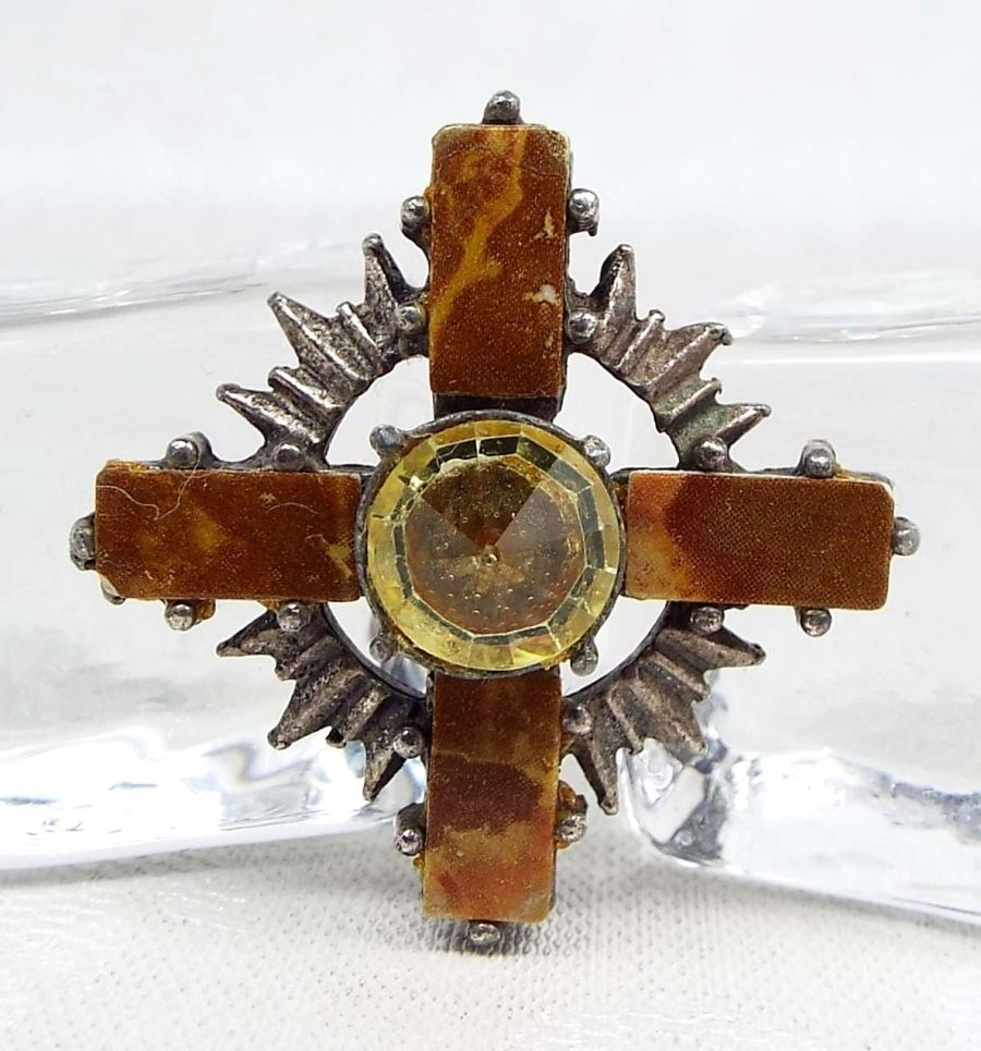 Scottish Agate and Crystal Celtic Cross Brooch