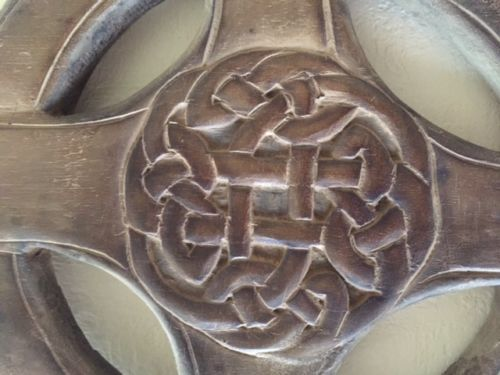 Vintage Wooden Celtic Cross Hand Made 5 Front Celtic Knot